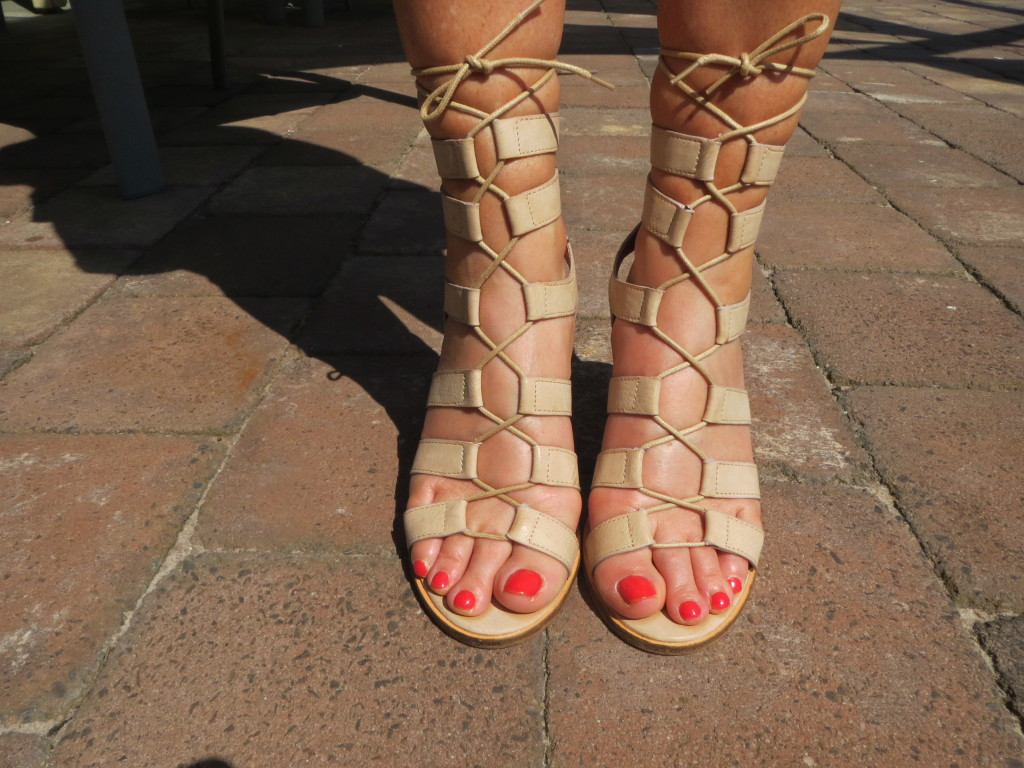 Therapy nude lace-up heels 1